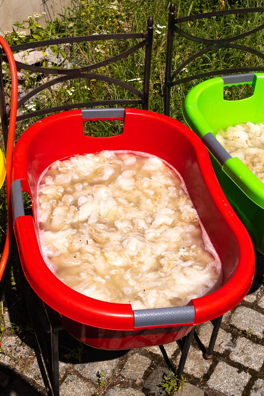 Fleckerl in der Waschlauge